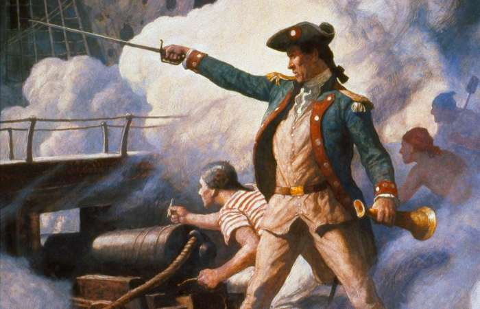 «Отец американского флота» Джон Пол Джонс руководит боем. | Фото: telegraph.co.uk.